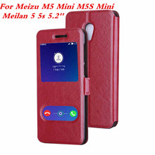 luxury PU Leather Window Flip Cover for Meizu M5 Mini Meizu M5S Mini Meilan 5 5.2'' Moblie phone case Protective shell