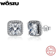 Wholesale 100% 925 Sterling Silver Eternity Elegance Stud Earrings With Clear CZ For Women Authentic Original Jewelry XCHS458(China)