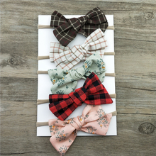 1PCS Plaid Bow Hair Band Nylon Headband For Children Girls Kid Stretch Headwear Hair Accessories Head Wrap(China)