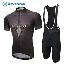XINTOWN Summer Cycling Set Clothing Bicycle Clothes Black Hawk Short Sleeve Bike Jerseys MTB Maillot Ropa Ciclista Sportswear