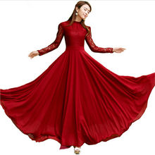 2017 Rushed Puff Sleeve Ball Gown Plus Size New Spring Elegant Lace Long Dress Slim Sleeve Wine Party Maxi Dresses Vestidos