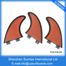 FCS Tri Fin G5 Fiberglass and Honeycomb FCS Fin Orange thruster Quilhas Surf fin