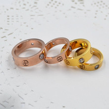 New Fashion Cross Screw Love Rings For Couples' Wedding Gifts Vacuum Plating Stainless Steel Classic Famouse Brand Jewelry(China)