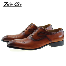 Brown Black Genuine Leather Lace Up Men's Dress Shoes Formal Suit Flats Man Office Company Oxford Shoe Size 39-46 #E7185-8(China)