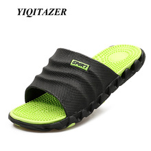 YIQITAZER 2017 New Summer Cool Water Flip Flops Men High quality Soft Massage Beach Slippers,Fashion Man Casual Shoes(China)