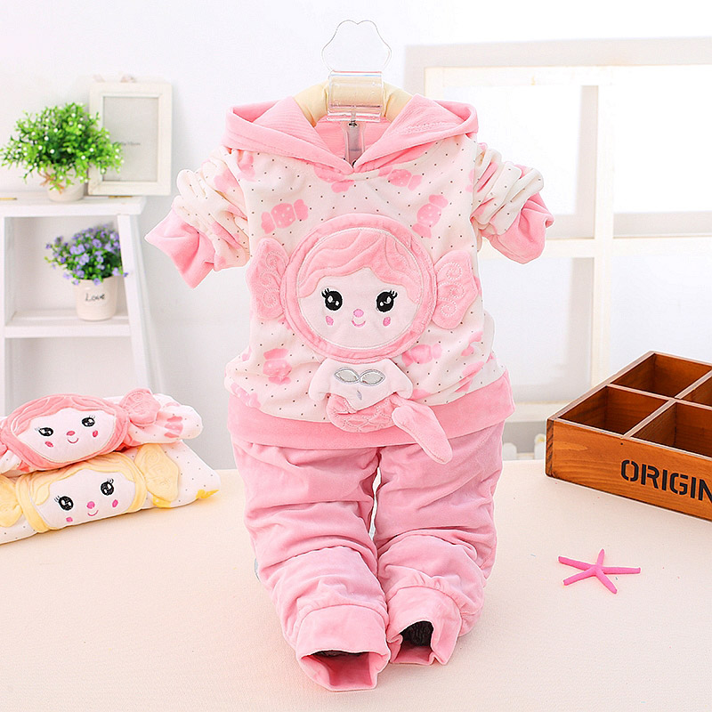 Spring Autumn Baby Girl Cotton Clothing  Set Baby Girl Mermaid Sweet Sets Flannel Coat Pants 2 Set For Girls<br><br>Aliexpress