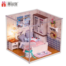 M002 Miniature DIY wooden doll house bedroom Furniture Toy Miniatura ( furniture,Light,dust cover ) bedroom dollhouse toys