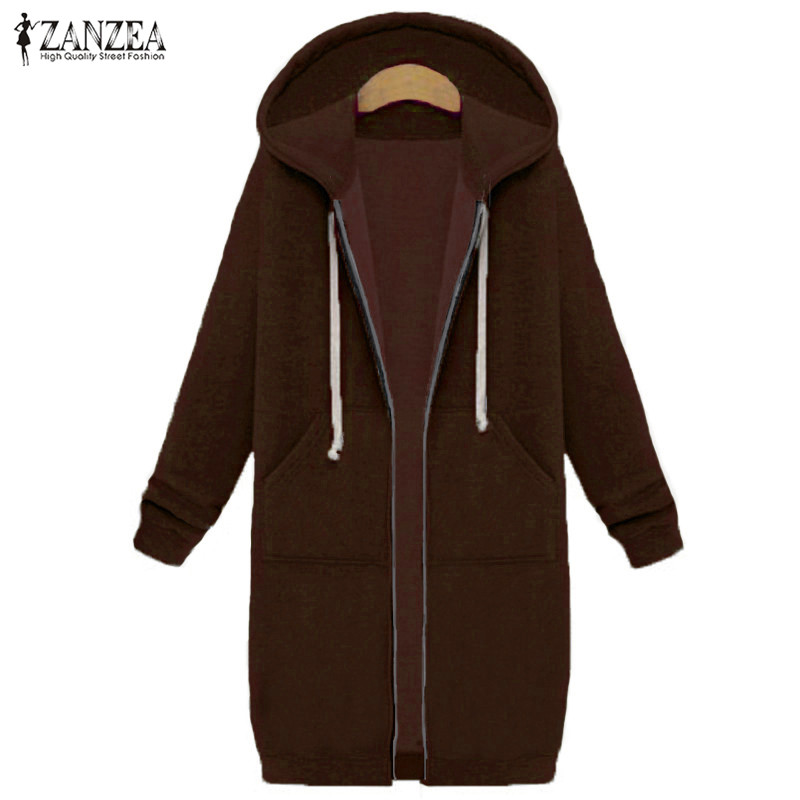 Oversized 2017 Autumn Women's Casual Long Hoodies Sweatshirt, Coat, Pockets, Zip Up, Outerwear Hooded Jacket 14