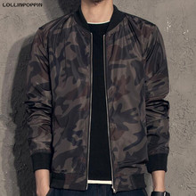 Men Camouflage Bomber Jacket Stand Collar Baseball Jackets & Coats Camo Print Mens Autumn Jacket Free Shipping