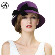FS Fashion Lavender Lady 100% Wool Felt Fedora Hat With Bowknot Elegant Wide Brim Winter Caps For Women Party Wears Sombreros(China)