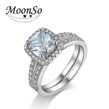 Moonso 2017 New 925 Sterling Silver Cushion Cut Finger Ring Sets for Women Jewelry Pure Wedding Engagement Rings R4211