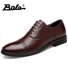 BOLE Handmade Genuine Leather Shoes Men Design Superstar Lace Up Men Business Dress Shoes Comfortable Fashion Walking Shoes Men