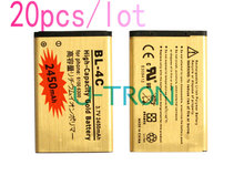 20pcs/lot 2450mAh BL-4C BL4C Gold Replacement Battery For Nokia 6100 6300 2650 5630  6131 6600f 6700S 6260 7210 6702s Batteries