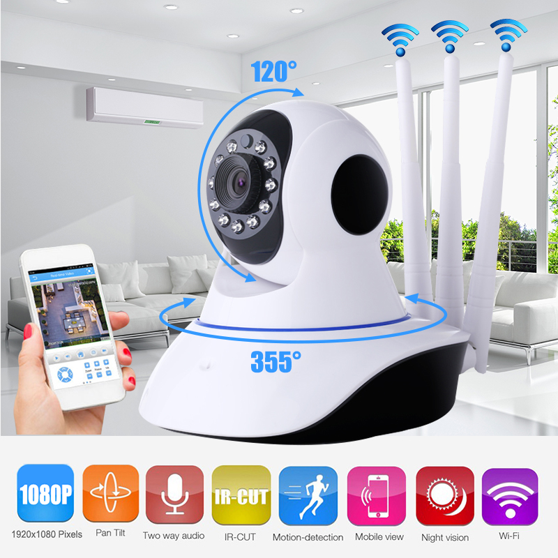 P2P Three Antenna Wireless Security 2.0MP HD 1080P Wifi IP Camera with Pan/Tilt 2-Way Audio IR Night Vision Nanny Baby Monitor <br>