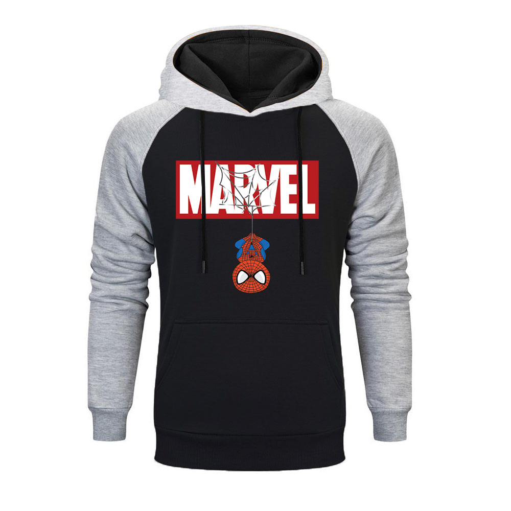 2019 New Fashion MARVEL Raglan Hoodies Men Sweatshirts Spider-Man Printed Sweatshirt Marvel Superhero Costume Mens Hoodie