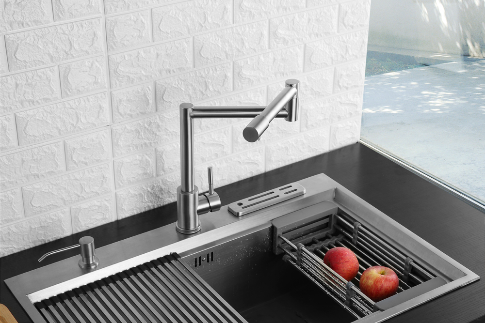 Folding Kitchen Faucet Stretchable Swing Arm Brushed  Single Hole Single Handle Deck Mounted Cold & Hot Kitchen Sink Faucet  (13)