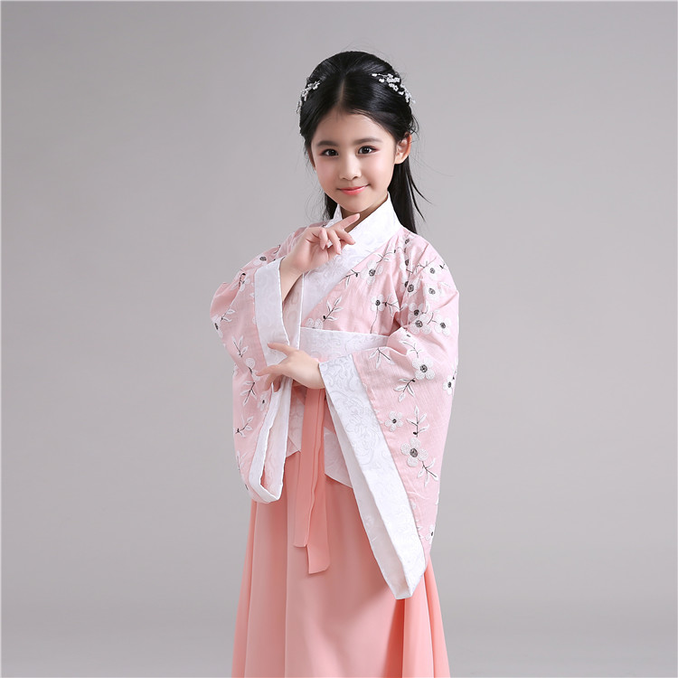 2017 autumn chinese silk clothing for girls hanfu dance costumes folk costume children traditional ancient kids tang fairy dress<br>