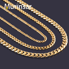 Width 3.6mm/5mm/7mm Stainless Steel Gold Chain Men Necklace Gold Filled Stainless Steel Link Chain Necklace Free Shipping