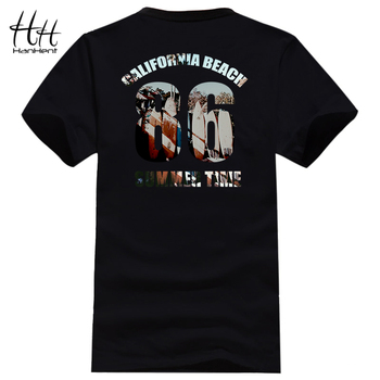 HanHent T Camisa dos homens Prancha Projeto Tshirts Verão Praia Da Califórnia Personalidade de Volta Impresso Tops T-shirt T-shirt Dos Homens Do Moderno