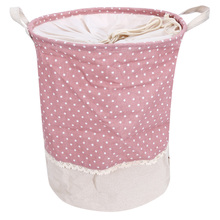 Cotton Linen Dot Pattern Laundry Clothing Organizer Toy Box Foldable Dirty Clothes Storage Baskets With Handles