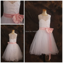 2016 Romantic Lace Real Sample Lovely Pink Bow flower girl dresses for weddings Cheap Price In Stock girls pageant dresses