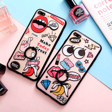 SoCouple Phone Case For iphone 7 6 6S 6Plus 7plus New Girl Diamond Flower Leaf Pattern Hollow Relief Phone Case with Ring Holder