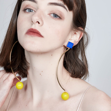 HaveFlowery Geometric Hit Color Ball Style Woman Drop Earrings,Street Simple Feminine Taste Long Eardrop,Joker Ear Jewelry,K4(China)