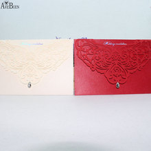 1pcs Sample Wedding Invitation Card With Blank Inner Sheet Laser Cut Customizable Hollow Crystal Lace  Foil Stamping & Envelopes