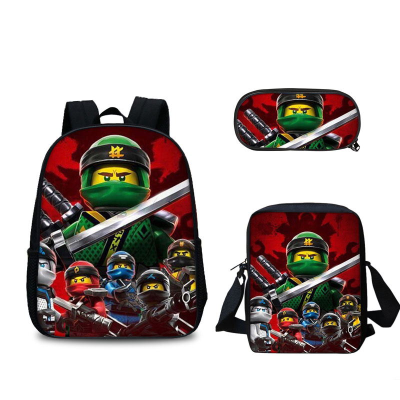 3 PCS/SET Lego Backpacks Boys Girls Kids Cartoon Movie Lego Ninjago Pattern School Bag Mochila Student Travel Backpacks