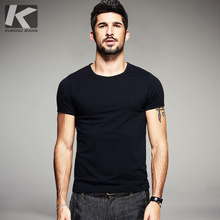 KUEGOU Summer Mens Casual T Shirts 10 Solid Colors Brand Clothing Man's Wear Short Sleeve Slim T-Shirts Tops Tees Plus Size 601