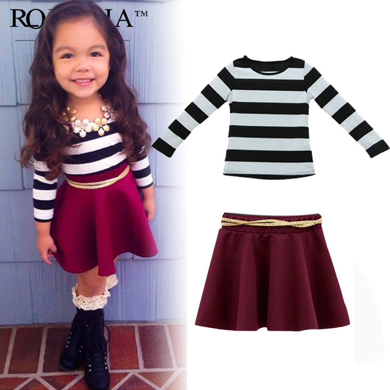 baby girls clothes set 2016 Girl Kids Fashion Black White Striped T-Shirt + Skirt Maroon Suit lowest price vetement fille<br><br>Aliexpress