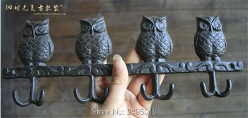 Perched Owls Rustic Cast Iron Wall Hook Set<br>