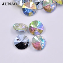 JUNAO 13mm Clear Crystal AB Rhinestones Buttons Round Sewing Button Strass Crystal Stones for Coats Clothing Scrapbooking Crafts(China)