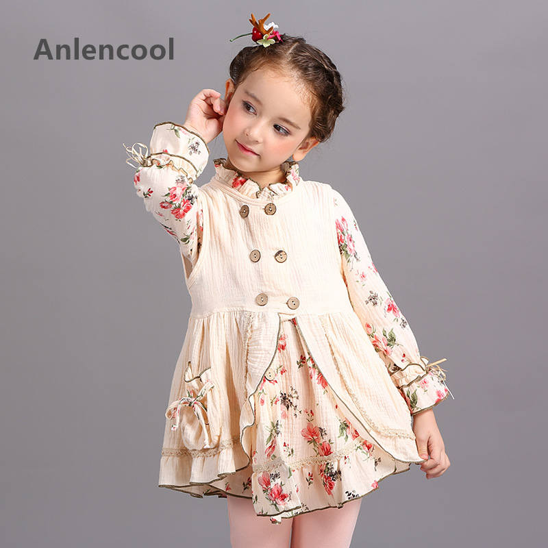 Anlencool New Childrens wear brand suit for girls years new cotton vest dress Princess two piece High quality children girl set<br>