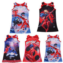 Summer 2017 Kid Girls  Sleeveless Dress Miraculous Ladybug Costume Fancy Dresses 5-16Y