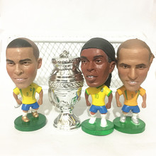 4PCS/LOT Soccerwe Ronaldinho Ronaldo Carlos Football Dolls ( Brasil Team with Copa America Trophy ) White Silver Souvenir