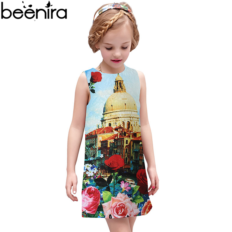 Girls Summer Dress with royal courtr Printed 2017 Brand Disfraz Infantil Baby Girl Costume for Kids Clothes Princess Dress<br>