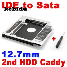 kebidu 2nd HDD Caddy 12.7mm IDE to SATA Hard Disk Drive SSD Aluminum Case Enclosure CD DVD-ROM Optical Bay Adapter for Laptop