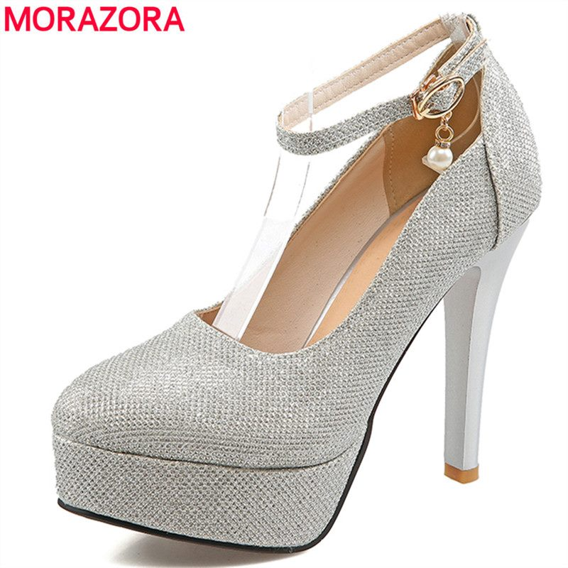 MORAZORA 2017 new platform ultra high heels women pumps Fashion sexy woman shoes thin heel party wedding shoes for women<br>