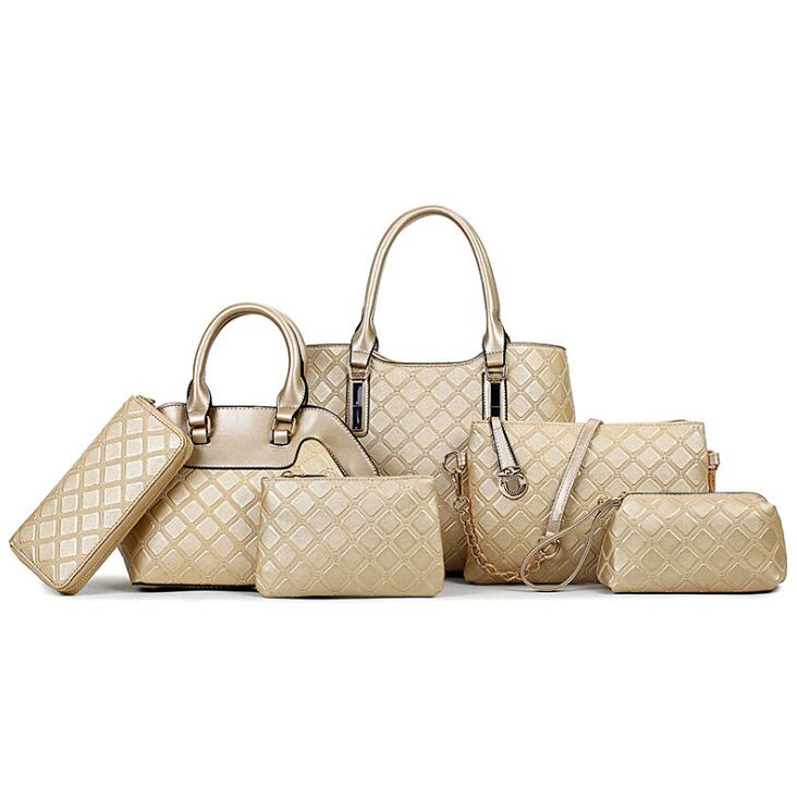 Brand Luxury Diamond Plaid Lady Handbag 6 Pcs Composite Women Bags Set Shoulder Crossbody Bag Lady Coin Purse Clutch Wallet<br>