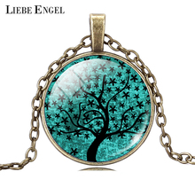 LIEBE ENGEL Life Tree Pendant Necklace Art Glass Cabochon Necklace Bronze Chain Vintage Choker Statement Necklace Women Jewelry(China)
