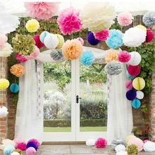 5pcs/lot 25cm Artificial Paper PomPom Tissue Flower Balls for home wedding party car decoration mariage crafts Boda Supplies(China)
