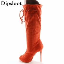 Factory Sexy Small Hole Perforation Fish toe Med Calf Boots Summer Stiletto High Heels Fretwork Bandage Lace up Sandals Botas(China)