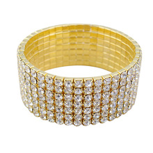 2017 Hot Sale Special Offer Link Chain Round Tension Setting Trendy Easy-hook 7 Row Bridal Diamante Rhinestone Stretch Bracelet(China)