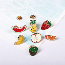 Free Shipping Fruit series Interesting cartoon cute little brooch brooches badges collar pin womens brooch pin online shopping(China)