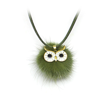 6 Colors Pompom Fur Ball Owl Shape Pendant Long Necklace Women Faux Fluffy Leather Sweater Chain Collier Necklaces Jewelry(China)