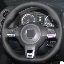 Multicolor leather Hand-stitched Car Steering Wheel Cover for Volkswagen Golf 6 GTI MK6 VW Polo GTI Scirocco R Passat CC R-Line