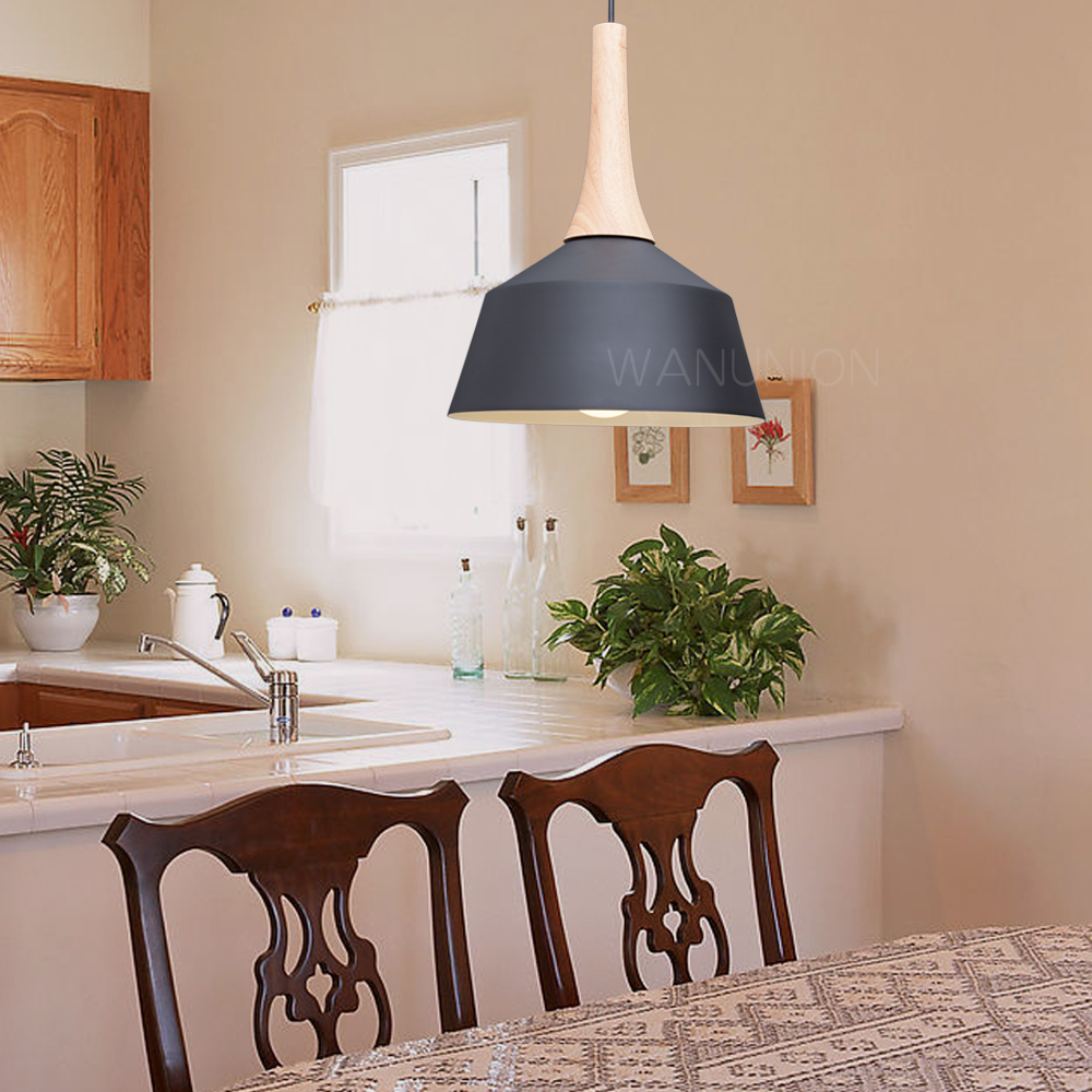 Nordic Pendant Lights Wood Aluminum Lampshade Industrial Lighting Loft Lamparas Dining Room Pendant Lamp E27 Light Fixtures<br>