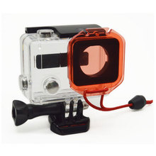 Go Pro Lens Cap Fit Underwater Under Sea Housing Diving Dive Lens Filter for GoPro Hero 3 Plus + Actioin Camera Red With lanyard