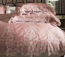 Princess embroidery lace bedding sets girl,full queen king cotton western home textiles flat sheets pillow case comforter cover(China)